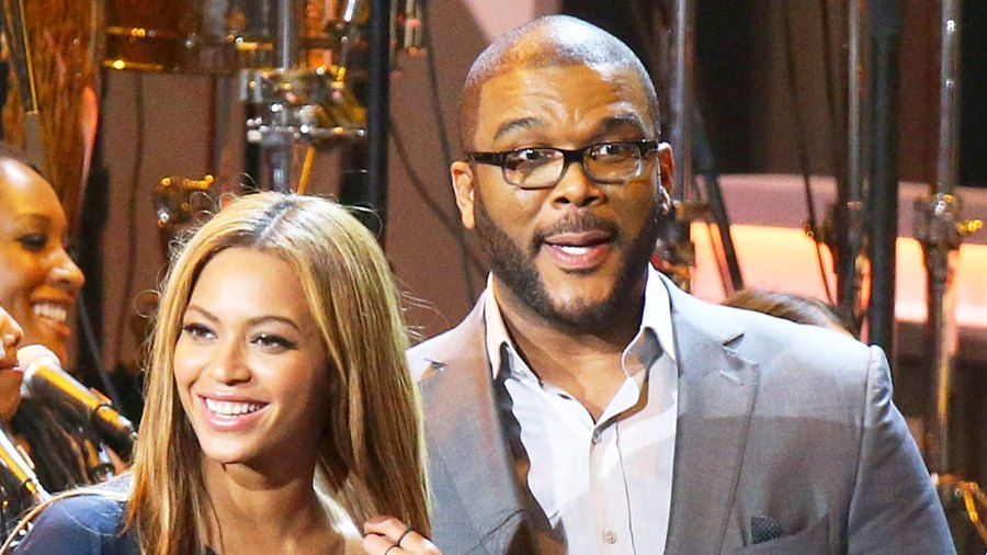 Beyonce and Tyler Perry onstage during the Stevie Wonder: Songs In The Key Of Life - An All-Star 2015 Grammy Salute held at Nokia Theatre L.A. Live in Los Angeles, California.