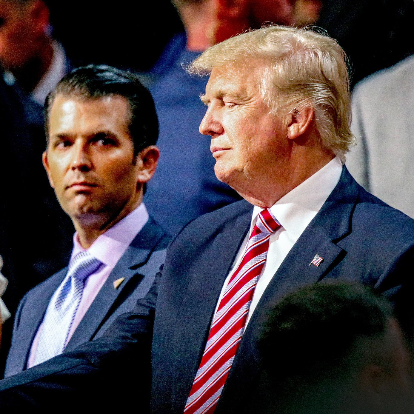 Donald Trump stands with Vanessa Trump and Donald Trump Jr. during the Republican National Convention at the Quicken Arena in Cleveland, Ohio, on July 20, 2016.