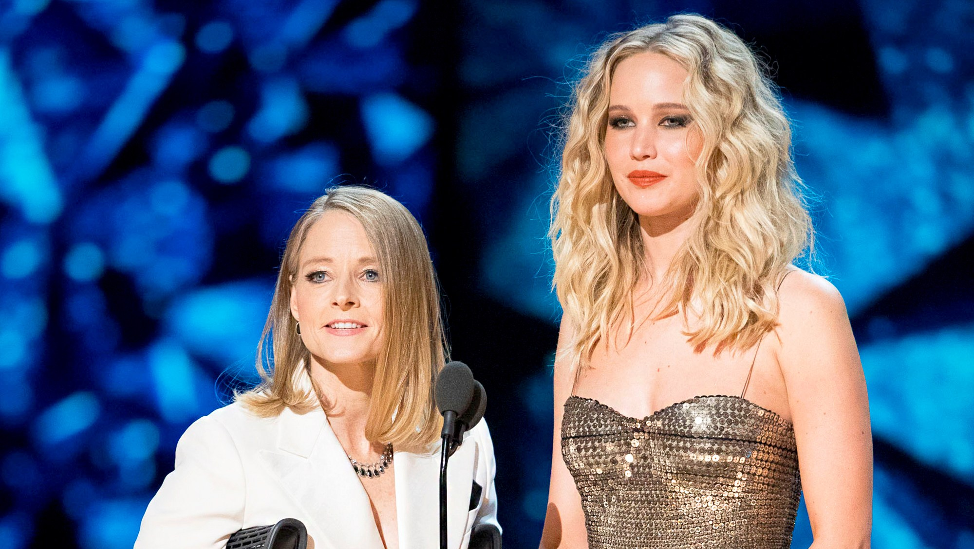 Jodie Foster and Jennifer Lawrence during the 90th Annual Academy Awards show on March 4, 2018 in Hollywood, California.