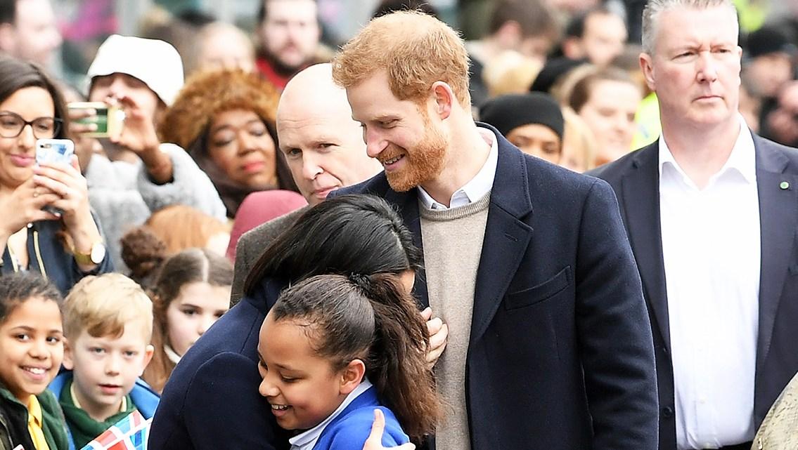 Prince Harry and Meghan Markle Hug Kids at Royal Engagement