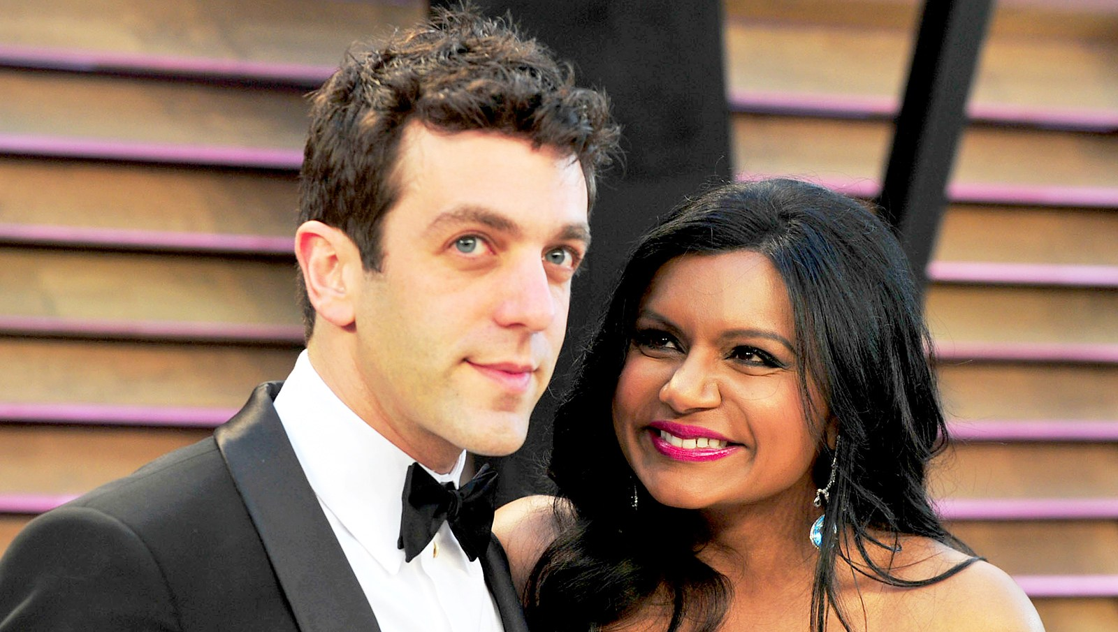 B.J. Novak and Mindy Kaling attend the 2014 Vanity Fair Oscar Party hosted by Graydon Carter in West Hollywood, California.