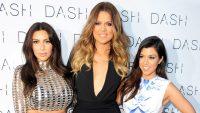 Kim Kardashian, Khloe Kardashian and Kourtney Kardashian attend the 2014 Grand Opening of DASH Miami Beach at Dash Miami Beach in Miami Beach, Florida.