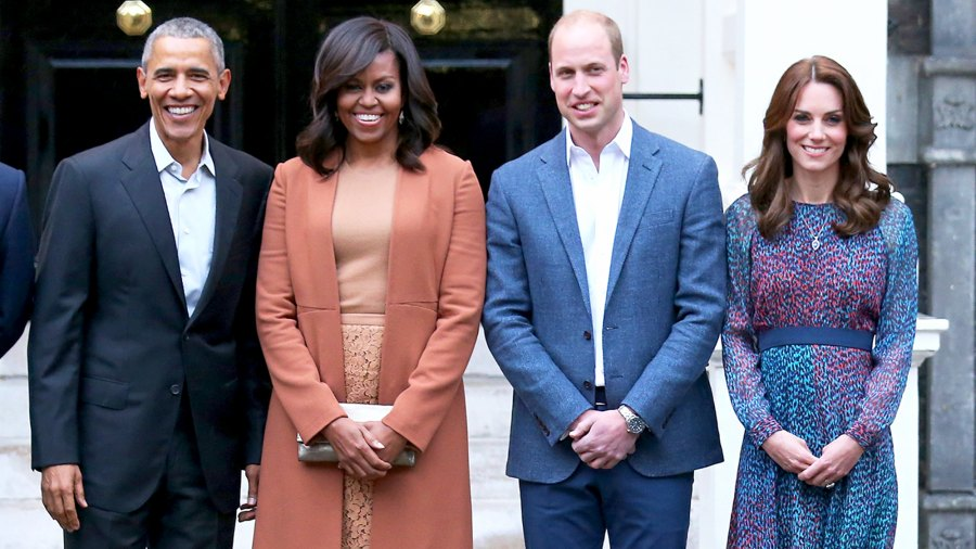 Barack Obama, Michelle Obama, Prince William and Kate Middleton attend a dinner at Kensington Palace on April 22, 2016 in London, England.