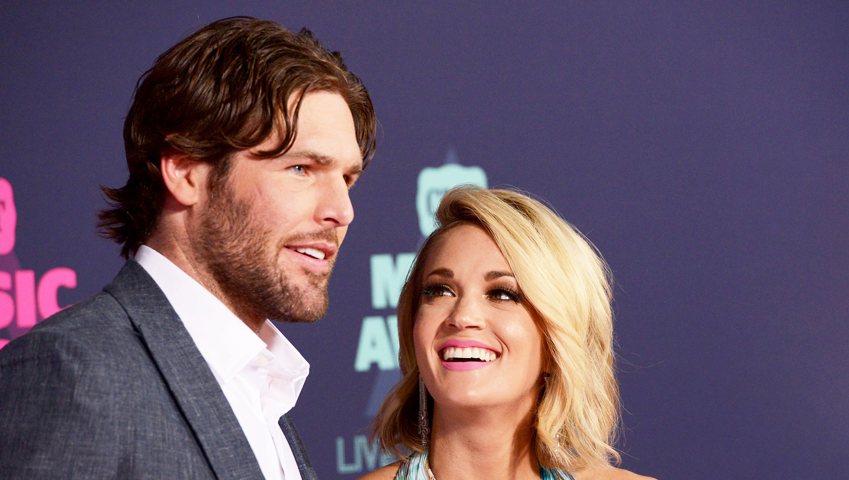 Carrie Underwood and Mike Fisher attend the 2016 CMT Music awards at the Bridgestone Arena in Nashville, Tennessee.