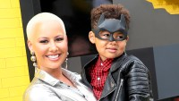 """Amber Rose and son Sebastian attend the 2017 Premiere of Warner Bros. Pictures' """"The LEGO Batman Movie"""" at the Regency Village Theatre in Westwood, California."""