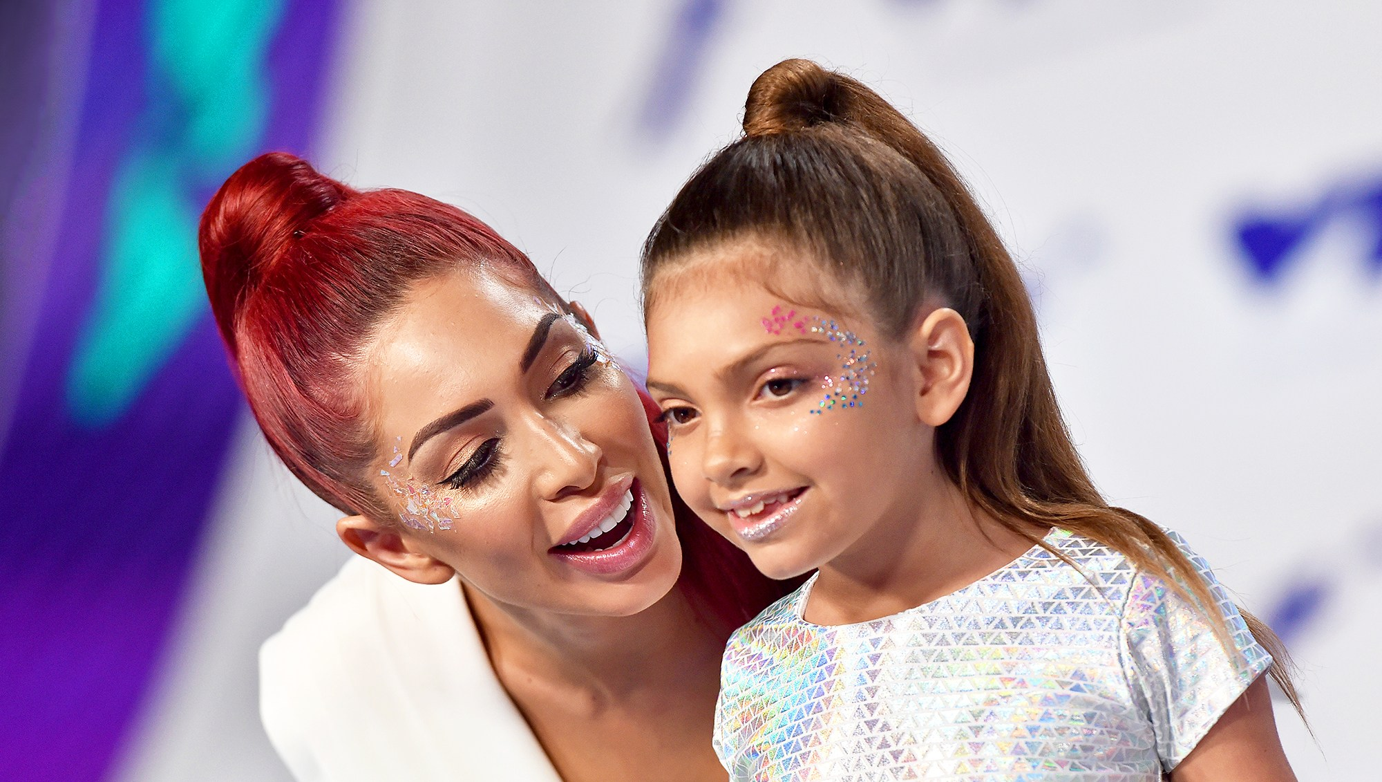 Farrah Abraham and daughter Sophia arrive at the 2017 MTV Video Music Awards at The Forum in Inglewood, California.