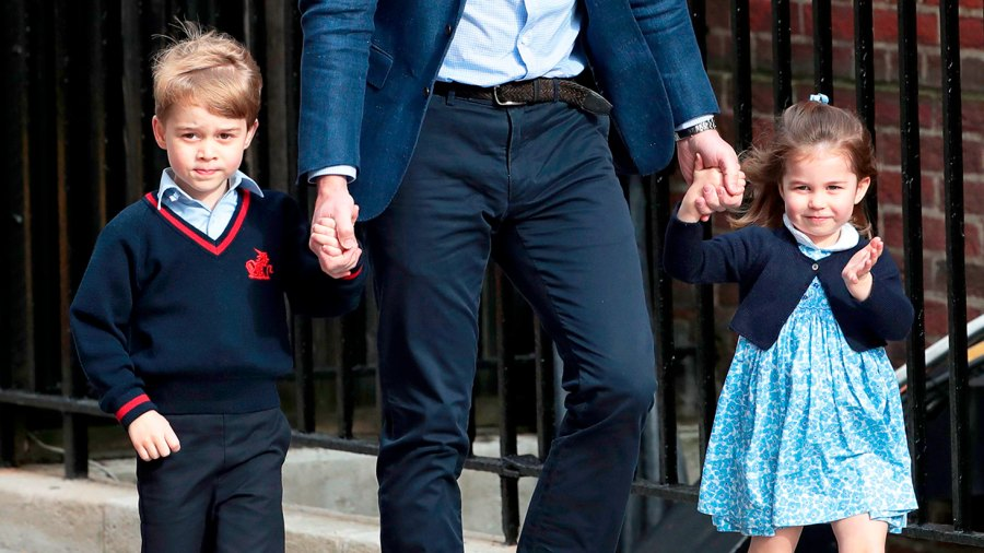 Prince William arrives with Prince George and Princess Charlotte at the Lindo Wing after Kate Middleton gave birth to their son at St. Mary's Hospital on April 23, 2018 in London, England.
