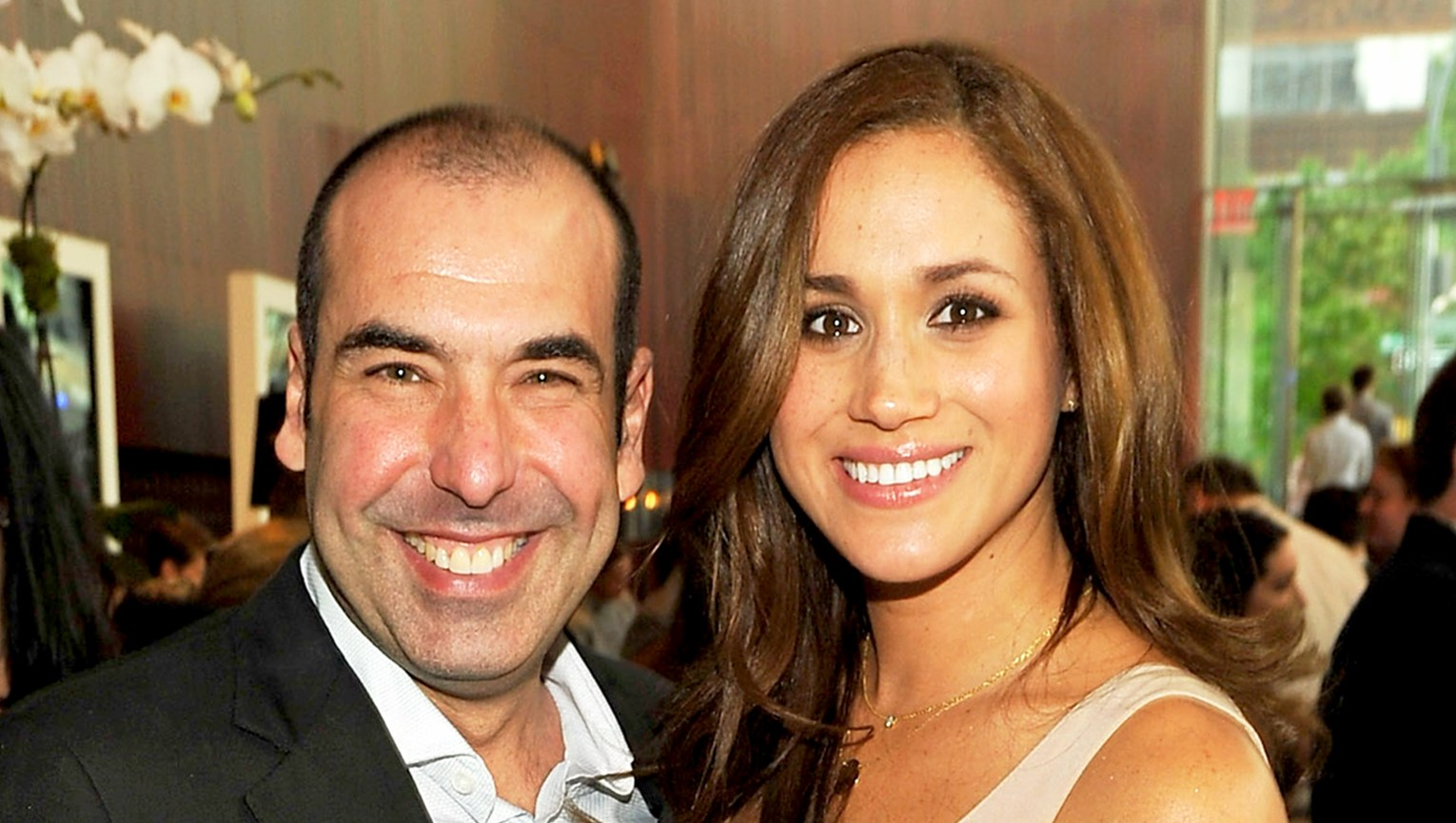Rick Hoffman and Meghan Markle attend USA Network Upfront 2012 after party at Alice Tully Hall at Lincoln Center in New York City.