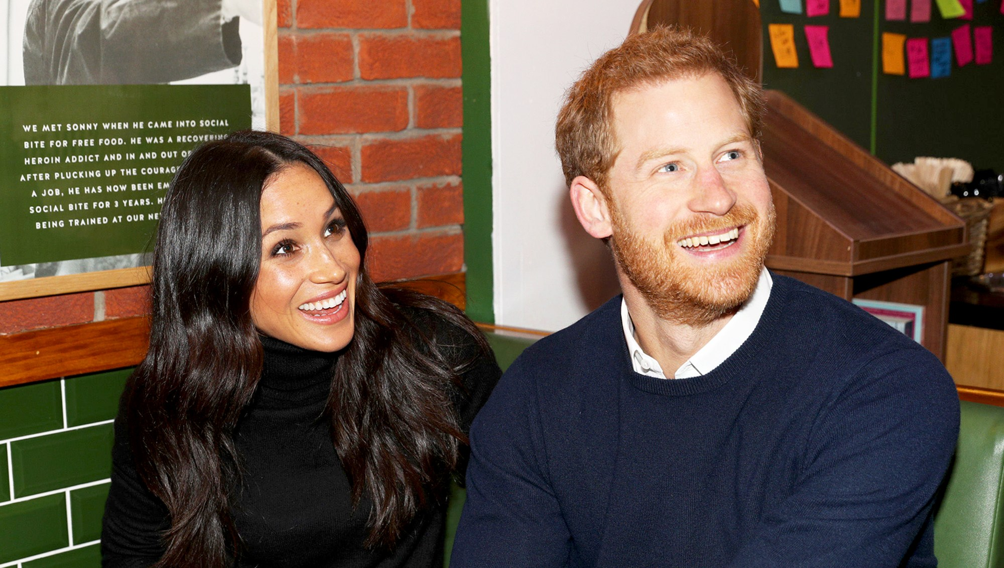 Prince Harry and Meghan Markle during a visit to Social Bite in Edinburgh, Scotland on February 13, 2018.