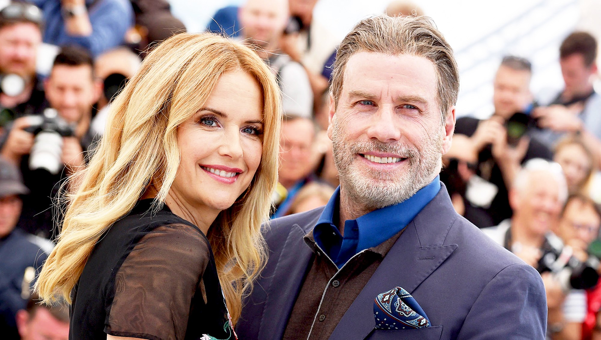 Kelly Preston and John Travolta attend the 71st annual Cannes Film Festival in France on May 15, 2018.