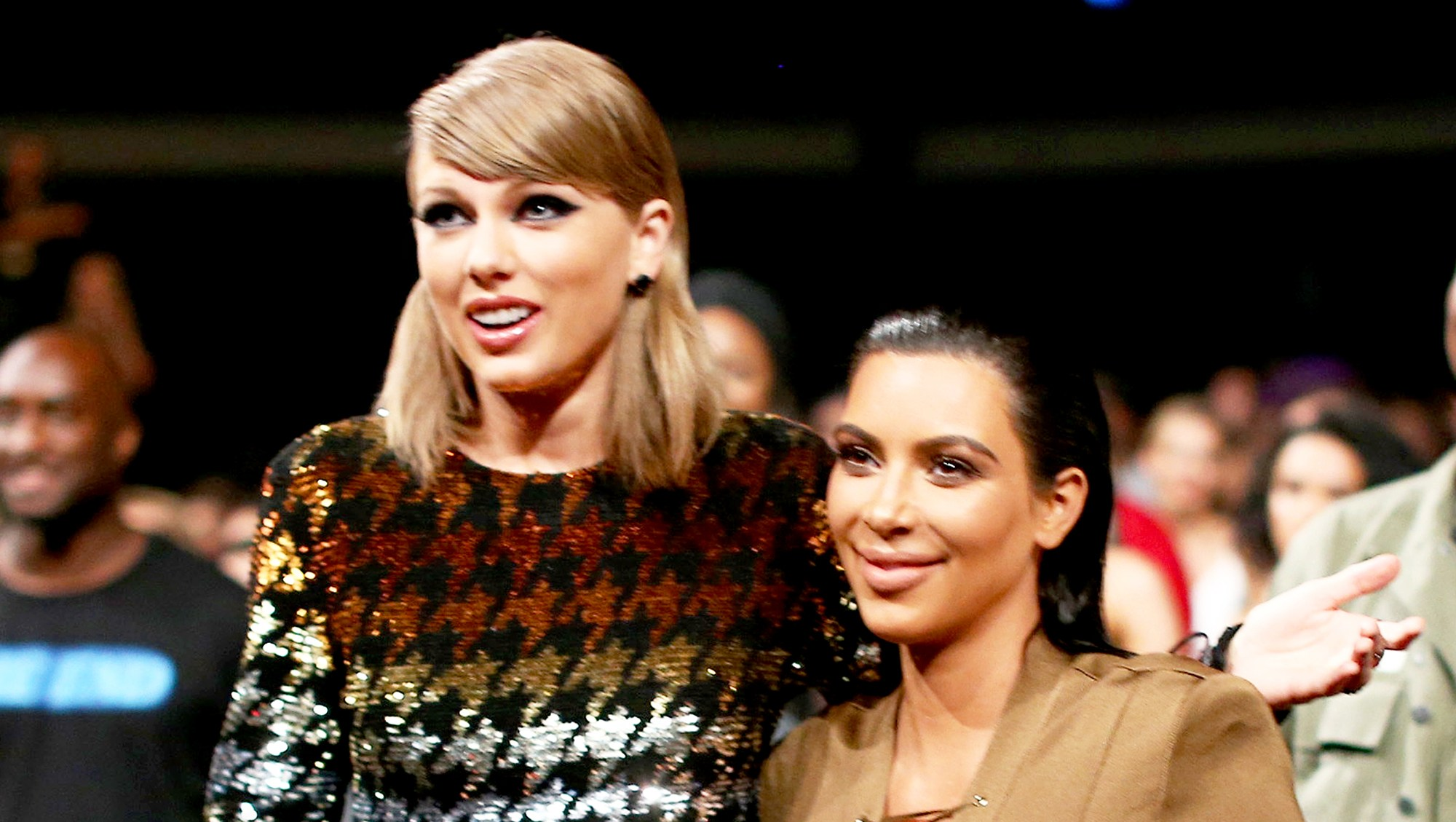 Taylor Swift and Kim Kardashian attend the 2015 MTV Video Music Awards at Microsoft Theater in Los Angeles.