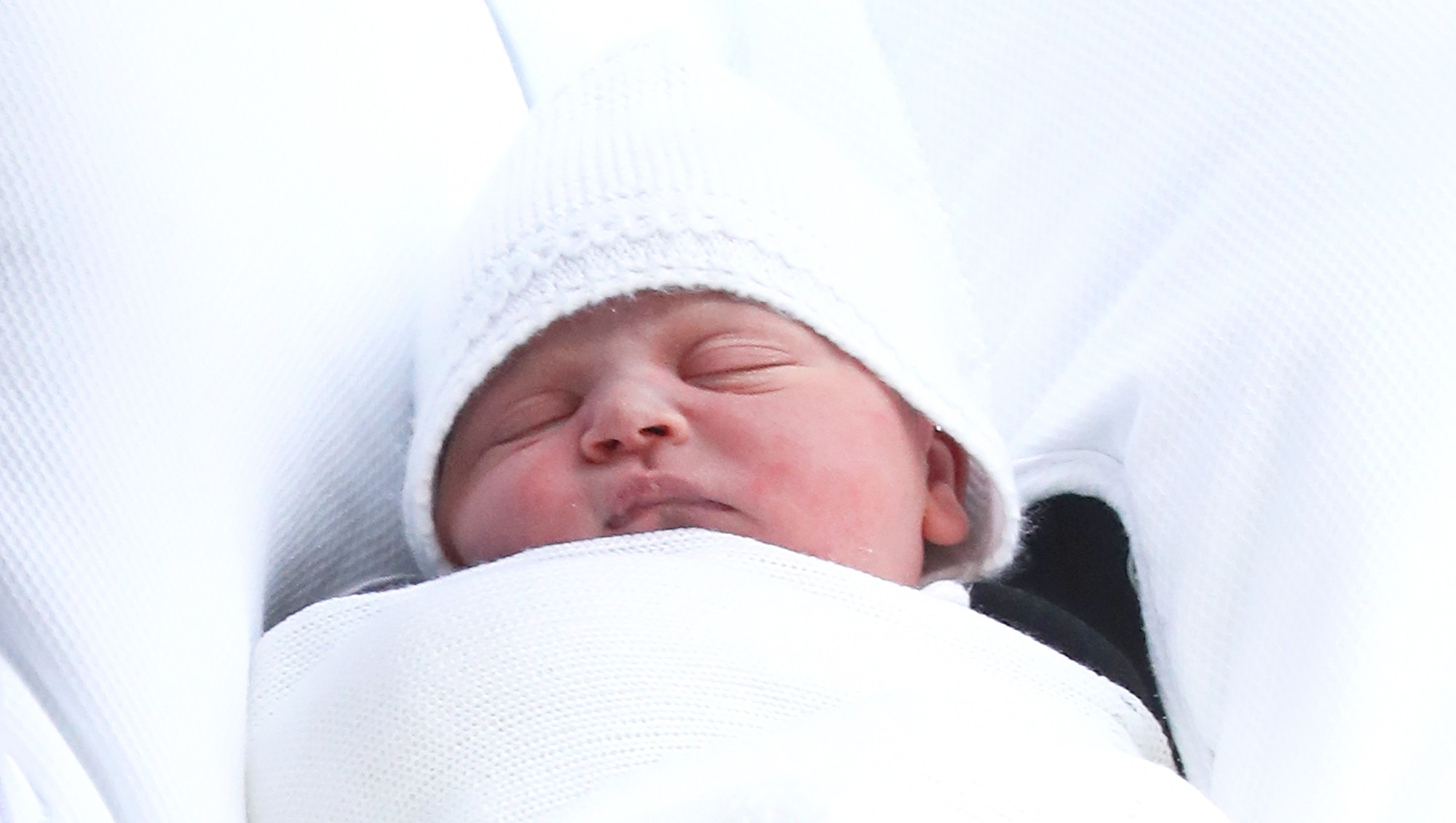 The new born son Prince Louis of Cambridge of Prince William and Kate Middleton as they depart the Lindo Wing at St Mary's Hospital on April 23, 2018 in London, England.