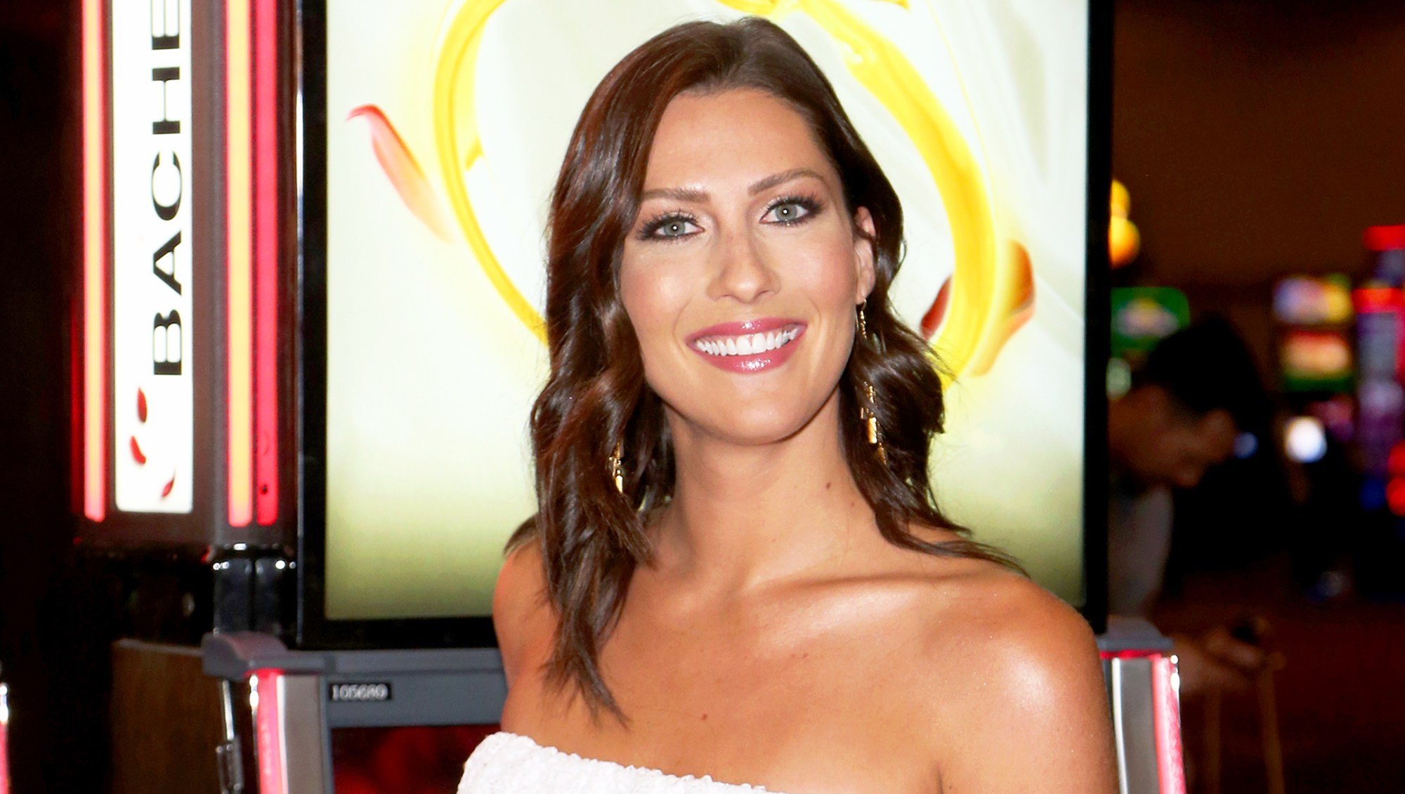 "Becca Kufrin attends an unveiling of ""The Bachelor"" themed slot machine at the MGM Grand Hotel & Casino on May 17, 2018 in Las Vegas, Nevada."