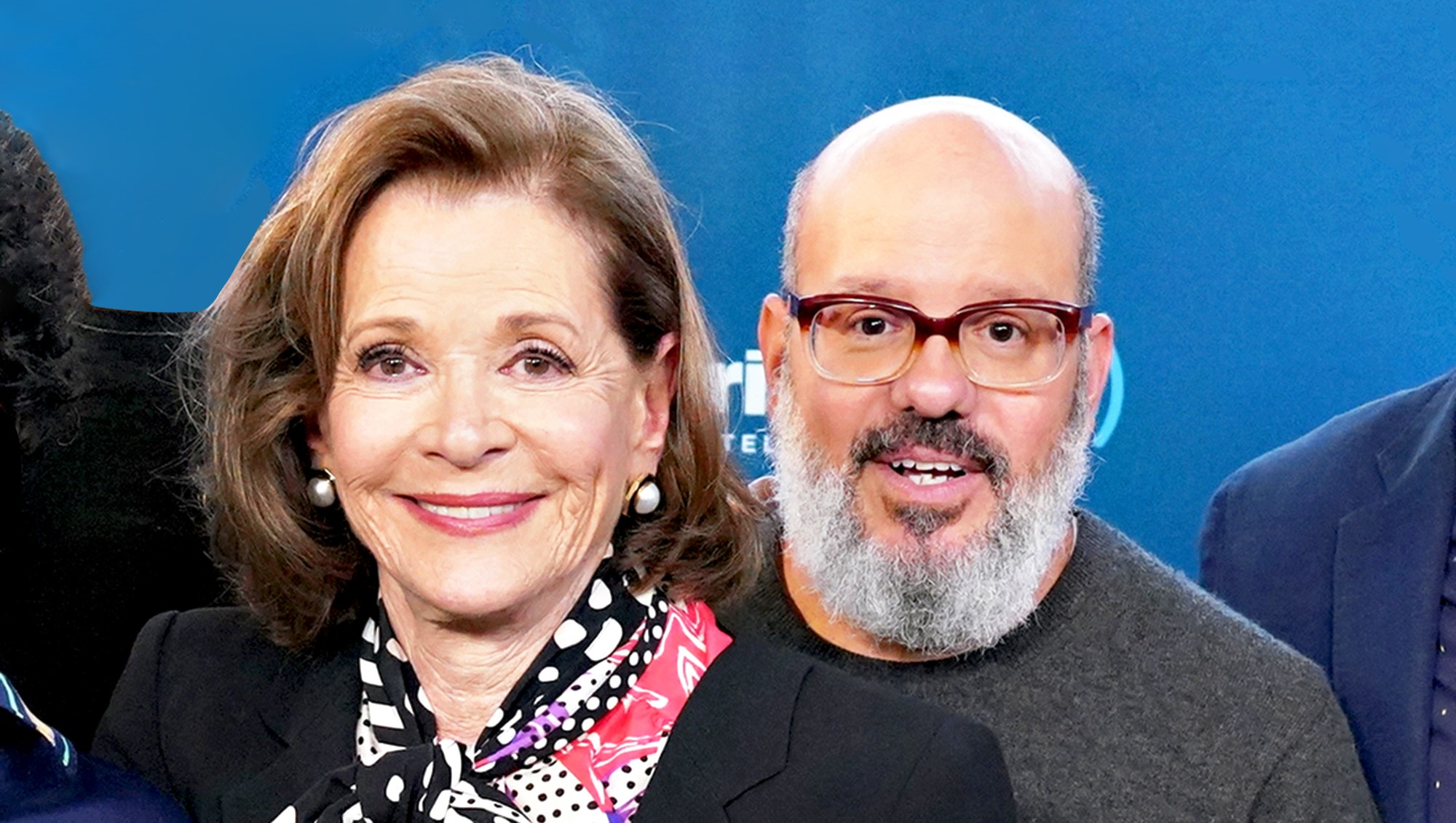 David Cross and Jessica Walter attend the 2018 SiriusXM's Town Hall with the cast of Arrested Development at SiriusXM Studio in New York City.