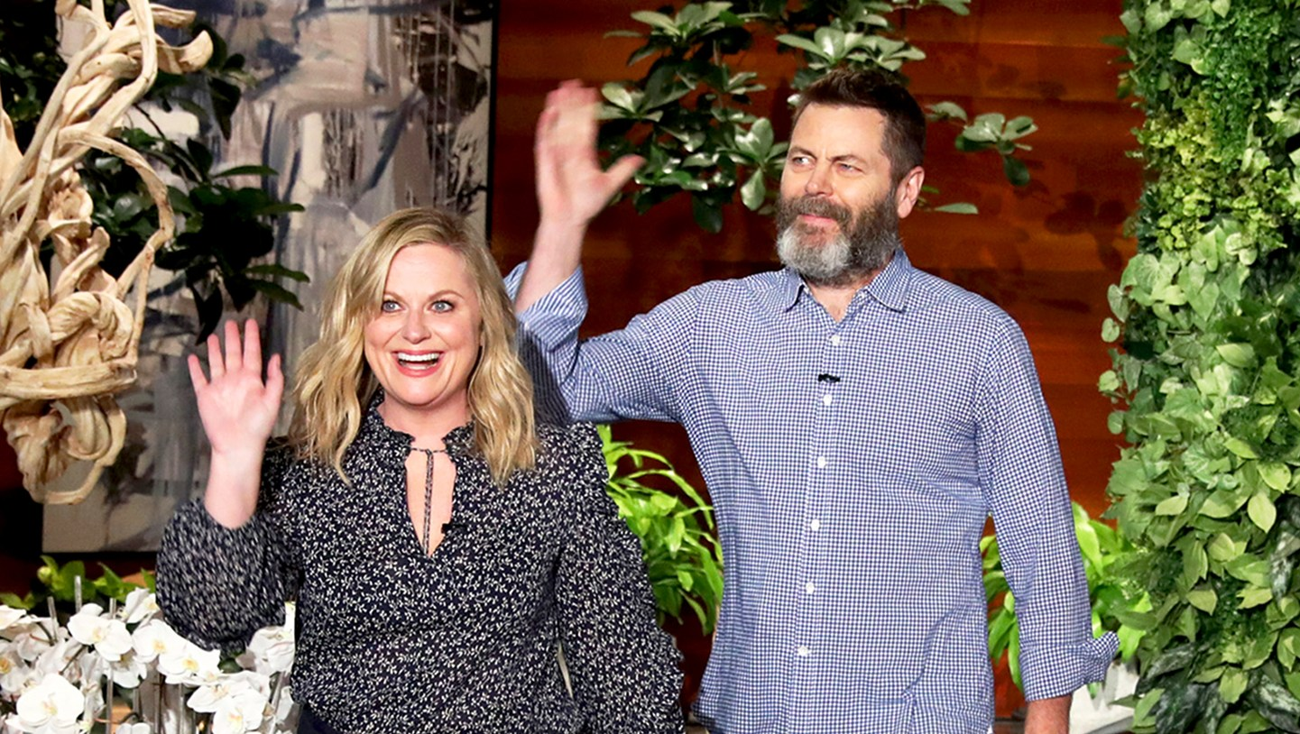 Amy Poehler and Nick Offerman on 'The Ellen DeGeneres Show'