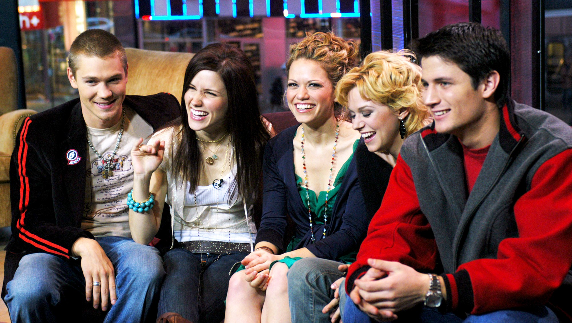 Chad Michael Murray, Sophia Bush, Bethany Joy Lenz, Hilarie Burton and James Lafferty of 'One Tree Hill' on MTV's TRL on January 25, 2005.