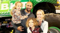 Kendra Wilkinson and Hank Baskett with son Hank and daughter Alijah attend Monster Jam Celebrity 2018 Event at Angel Stadium in Anaheim, California.