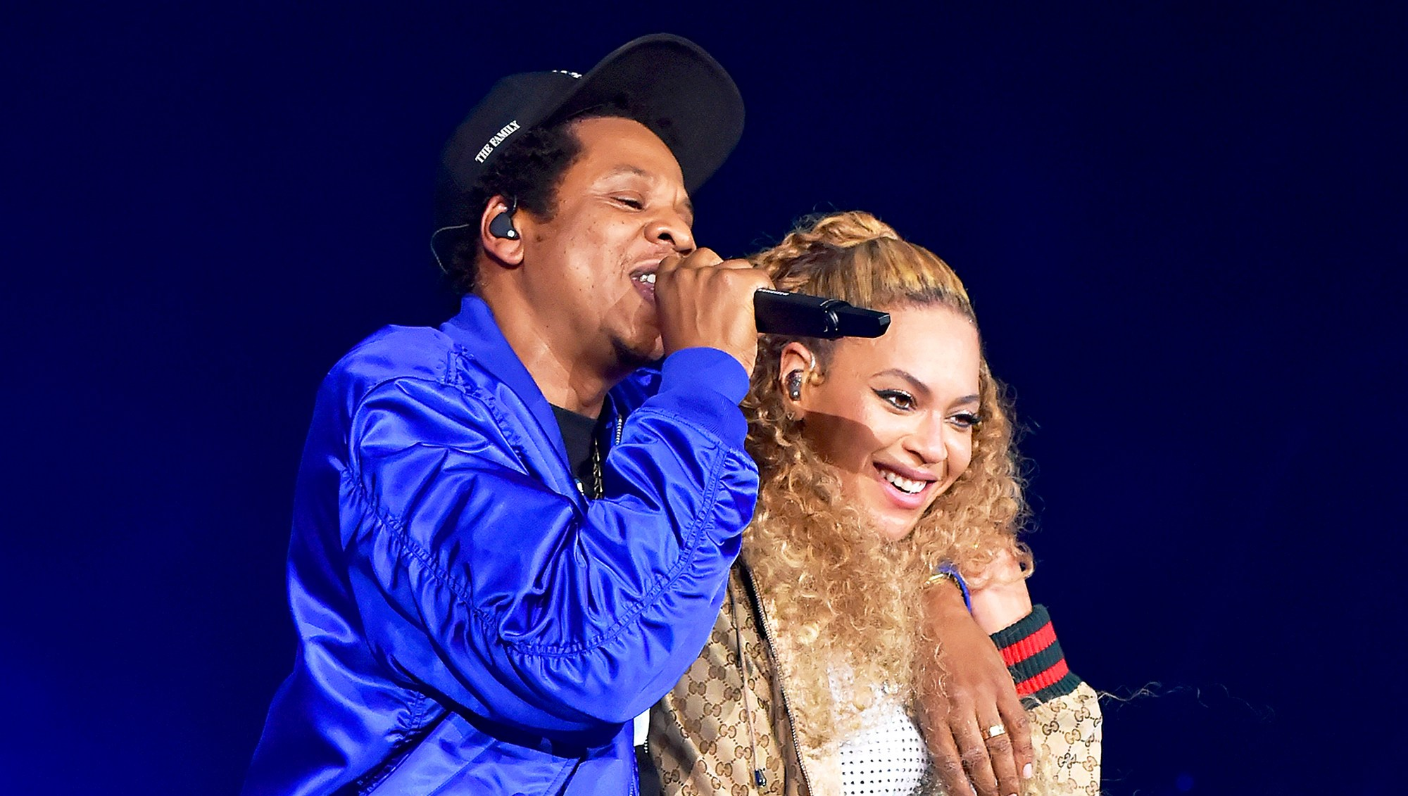 "Jay Z and Beyonce Knowles perform on stage during their ""On the Run II"" tour opener at Principality Stadium on June 6, 2018 in Cardiff, Wales."