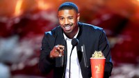 Michael B. Jordan accepts the Best Villain award for 'Black Panther' onstage during the 2018 MTV Movie And TV Awards at Barker Hangar on June 16, 2018 in Santa Monica, California.