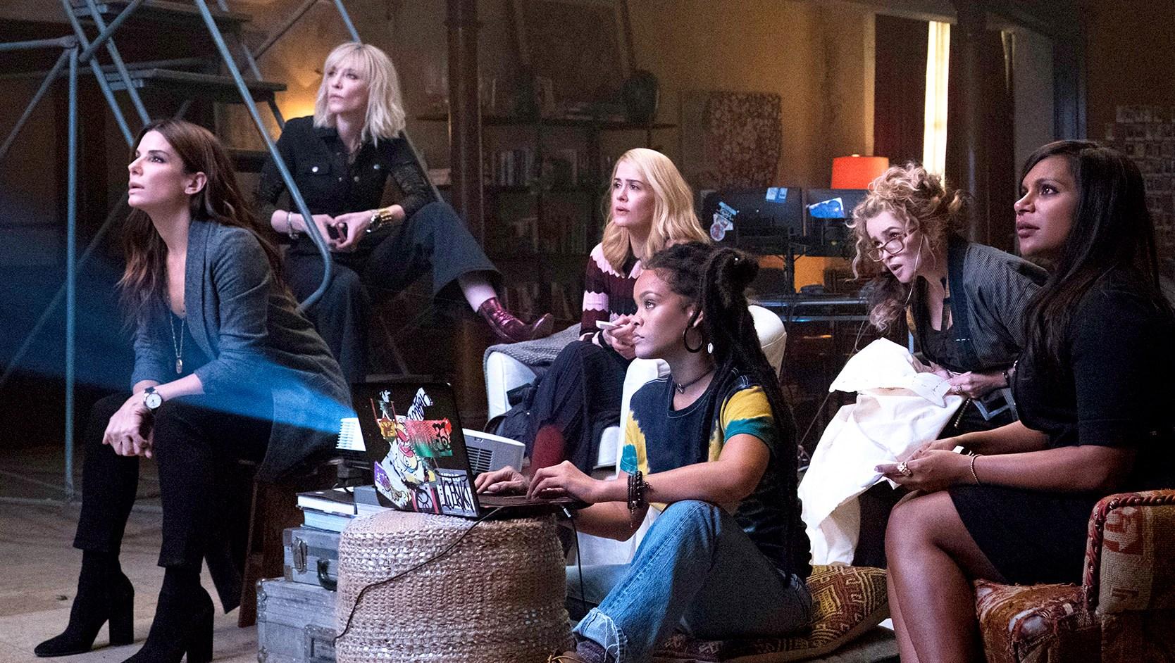 Sandra Bullock, Cate Blanchett, Sarah Paulson, Rihanna, Helena Bonham Carter, Mindy Kaling and Awkwafina in 'Ocean's 8'