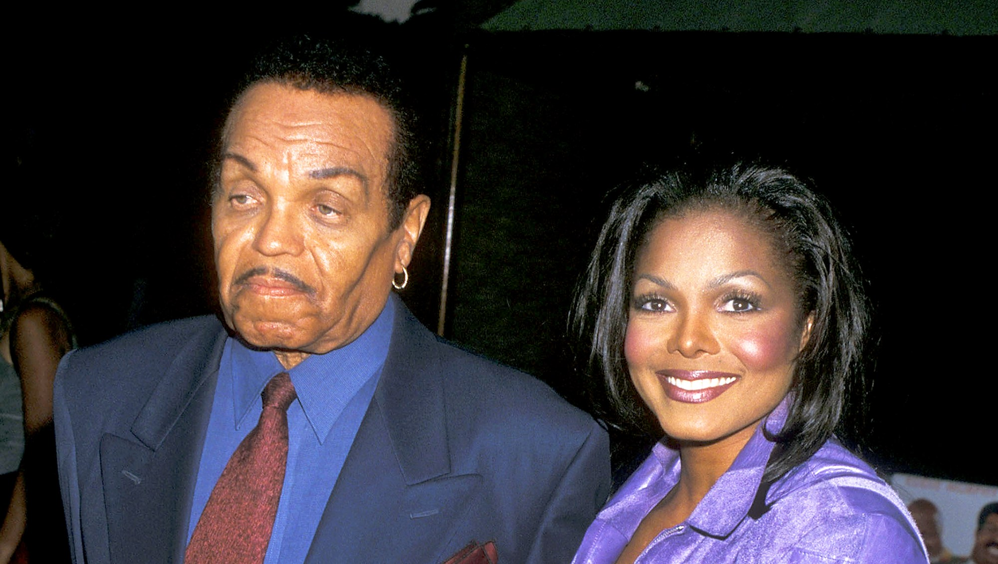 "Janet Jackson and Joe Jackson attend the ""Nutty Professor II: The Klumps"" Universal City 2000 Premiere at Universal Amphitheatre in Universal City, California."