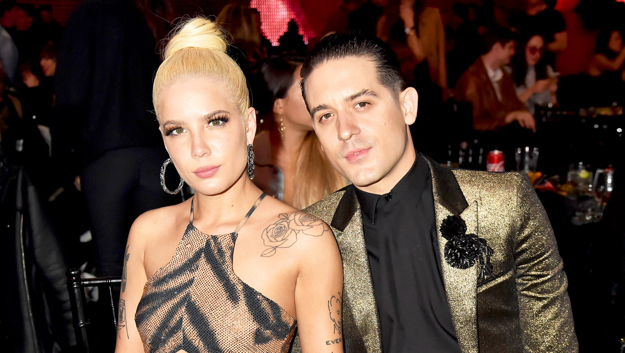 Halsey and G-Eazy attend the 2018 iHeartRadio Music Awards at The Forum on in Inglewood, California.