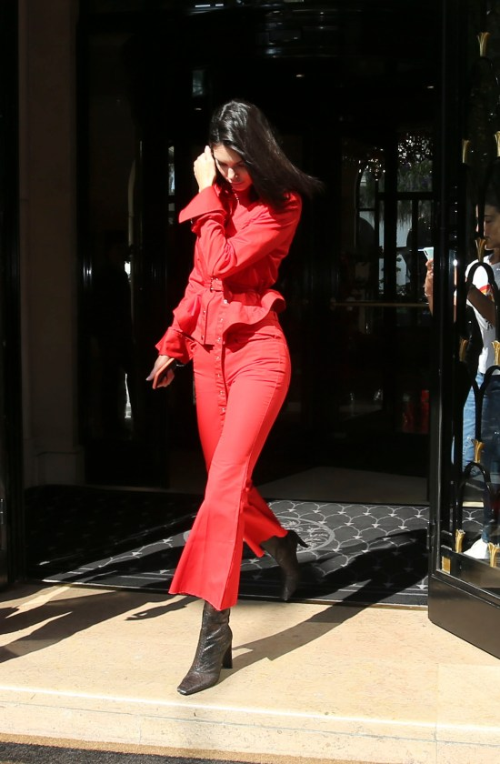 kendall jenner red outfit pants set street style paris