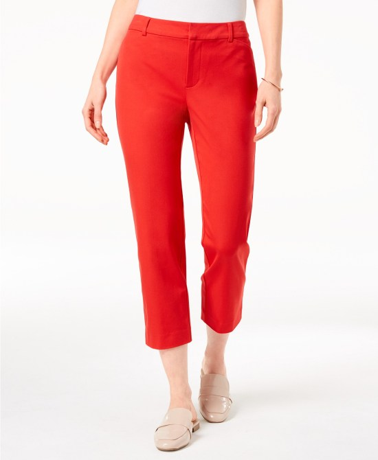 red cropped pants