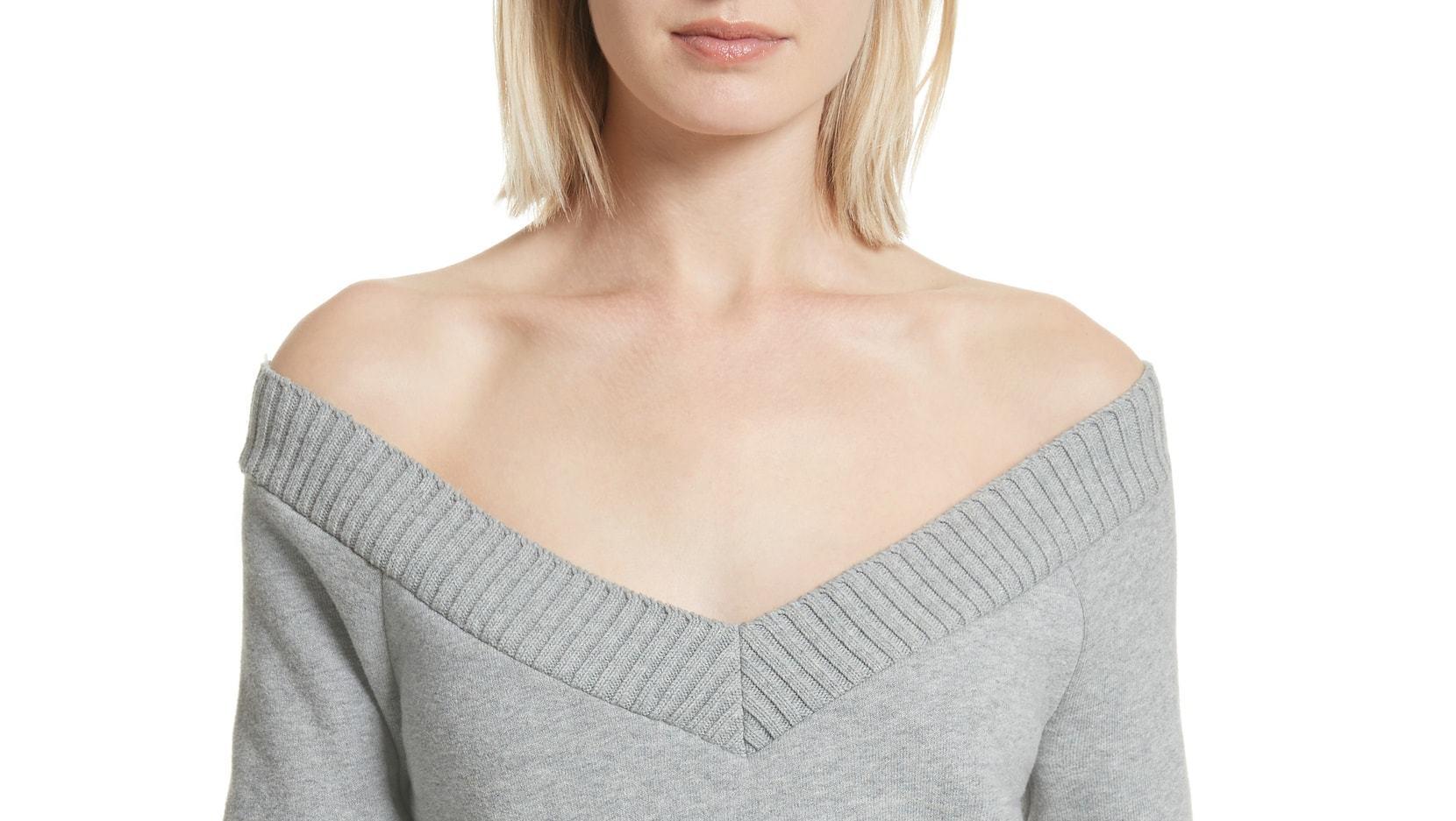 alexander wang sweater grey off shoulder