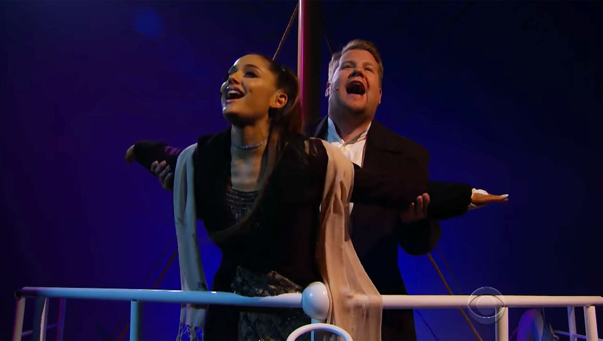 ariana grande james corden titanic soundtrack the late late show