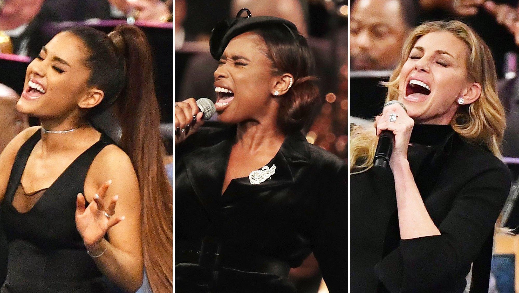 Ariana Grande Jennifer Hudson Faith Hill Perform Aretha Franklin Funeral