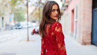 woman in red lace dress