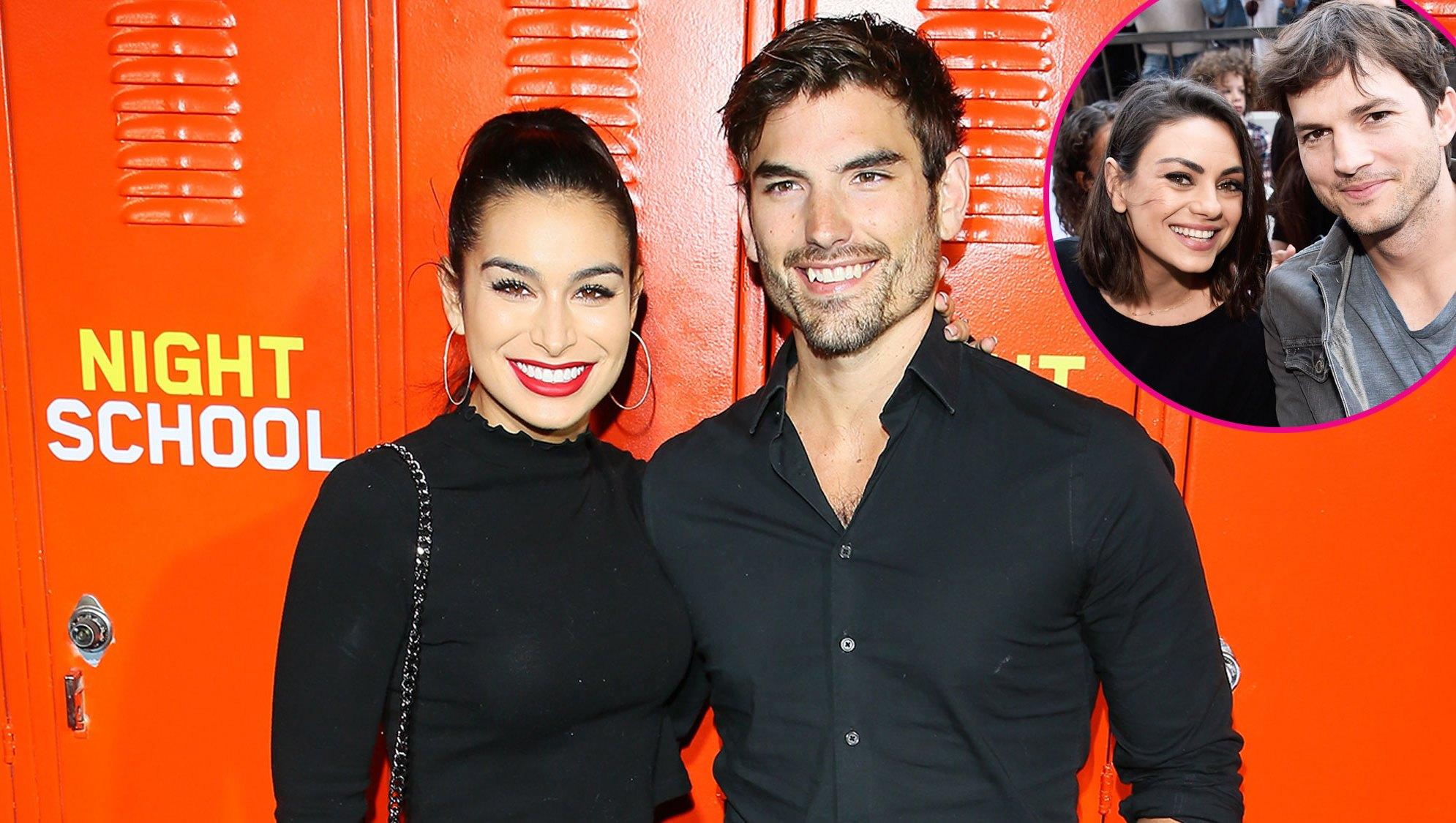 Ashley Iaconetti and Jared Haibon with Ashton Kutcher and Mila Kunis