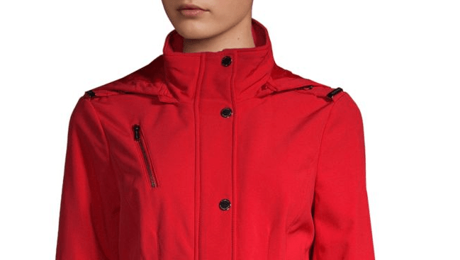 red michael kors hooded belted jacket