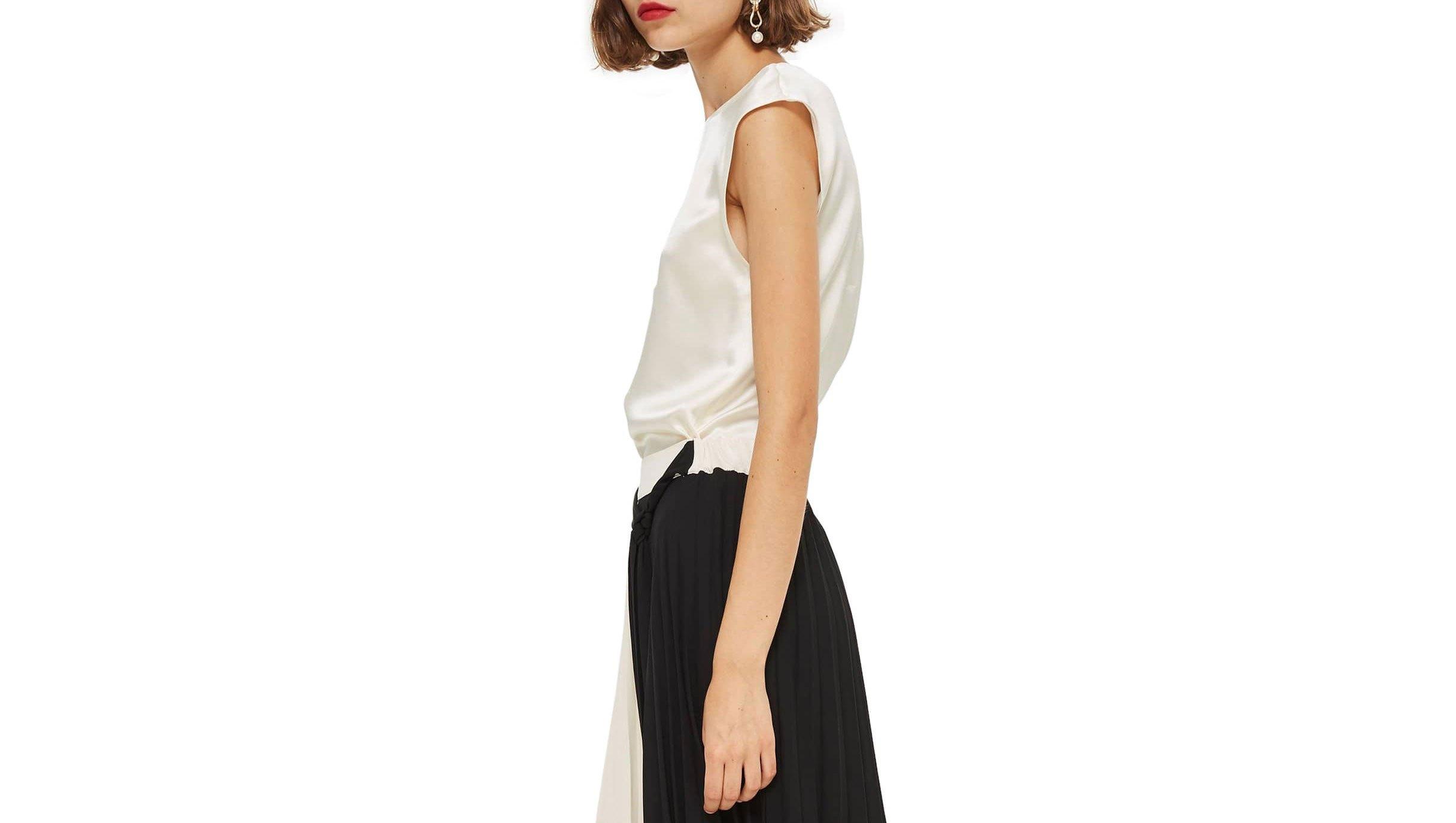 Topshop-Colorblock-Pleated-Midi-Skirt