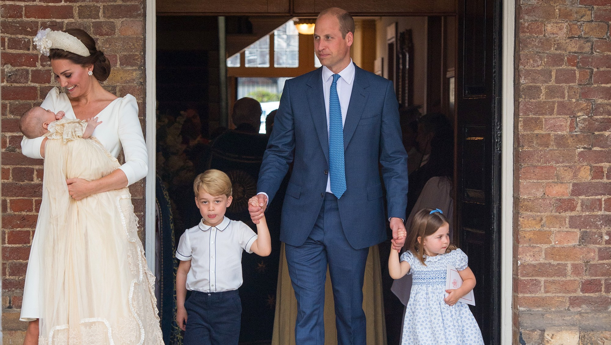 Catherine Duchess of Cambridge and Prince William, Duke of Cambridge with their children Prince George, Princess Charlotte and Prince Louis after Prince Louis' christening at St James's Palace on July 09, 2018 in London, England.