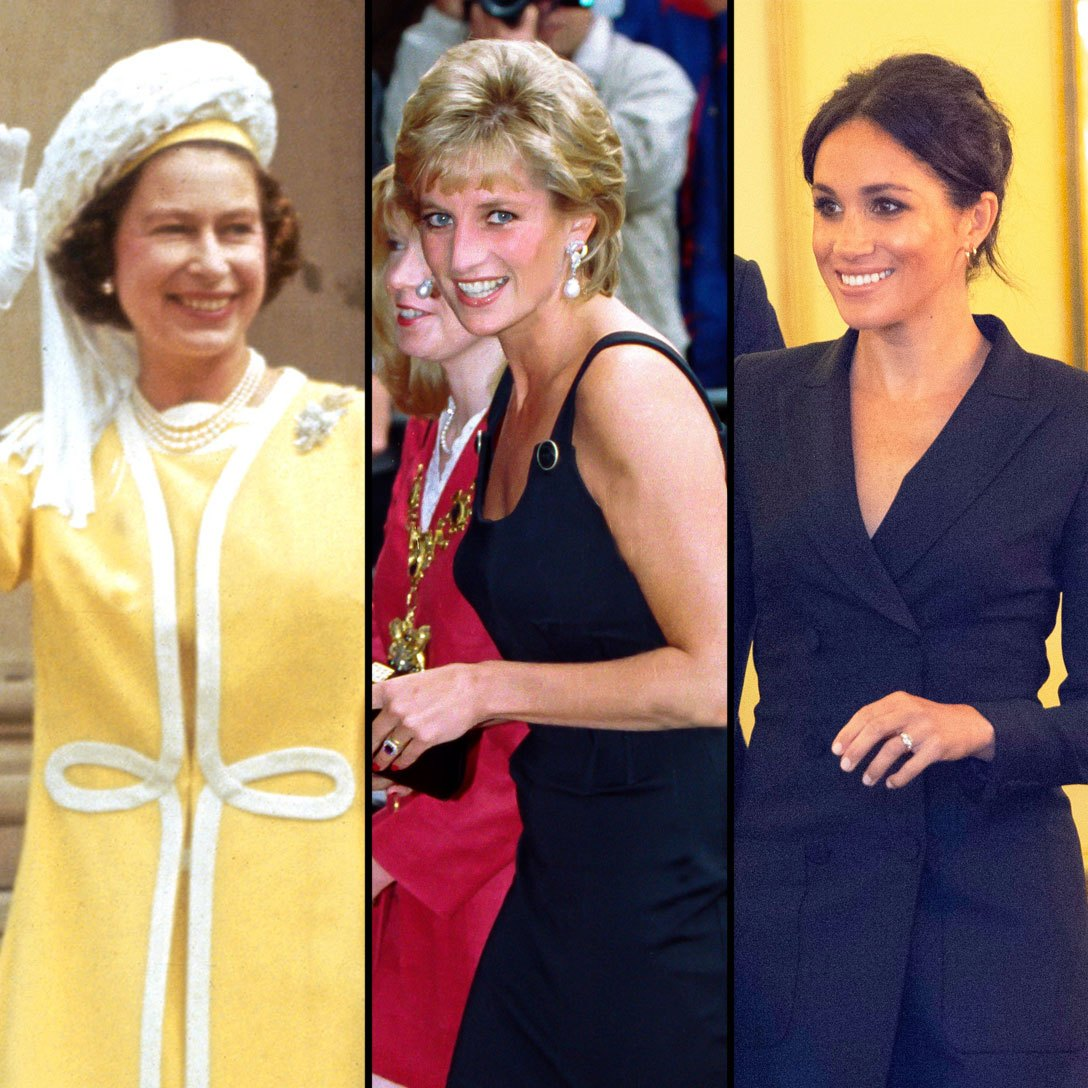 Queen Elizabeth II, Princess Diana and Meghan Markle
