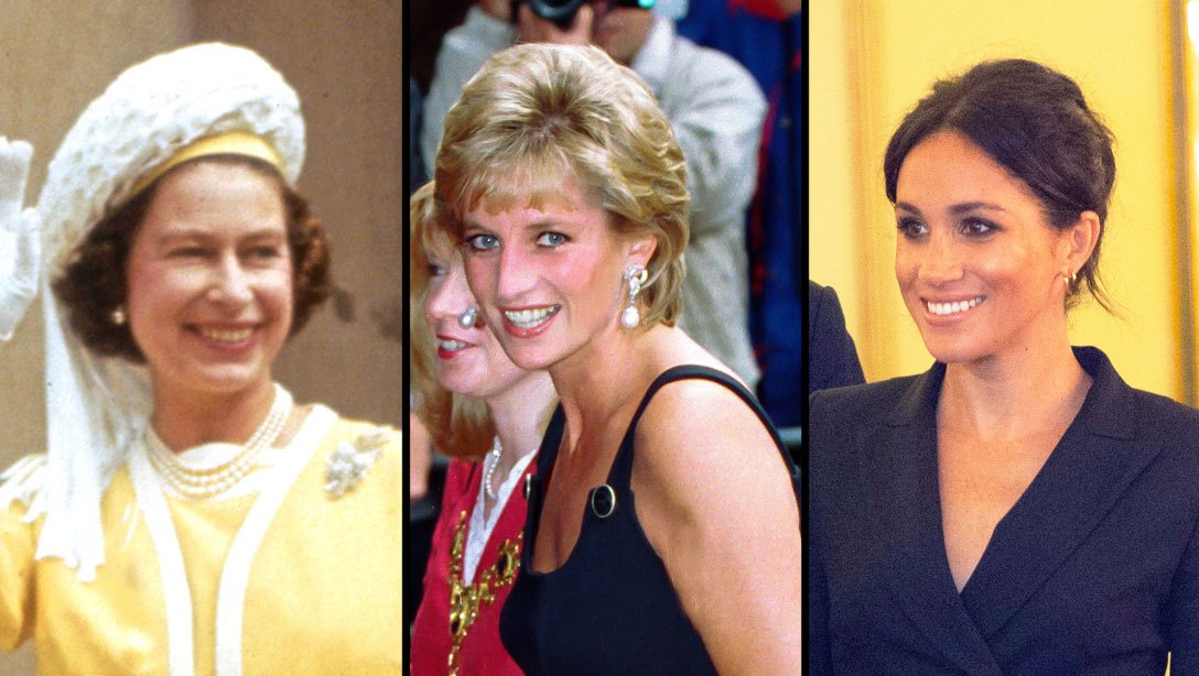 Queen Elizabeth II, Princess Diana and Meghan Markle