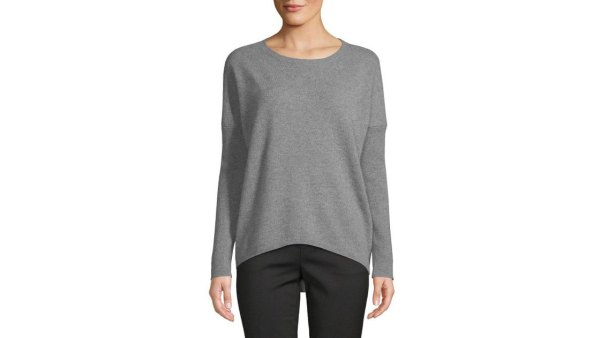 saks-fifth-avenue-Sleet-Heather-Drop-shoulder-Cashmere-Sweater-1