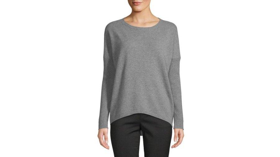 saks-fifth-avenue-Sleet-Heather-Drop-shoulder-Cashmere-Sweater-1