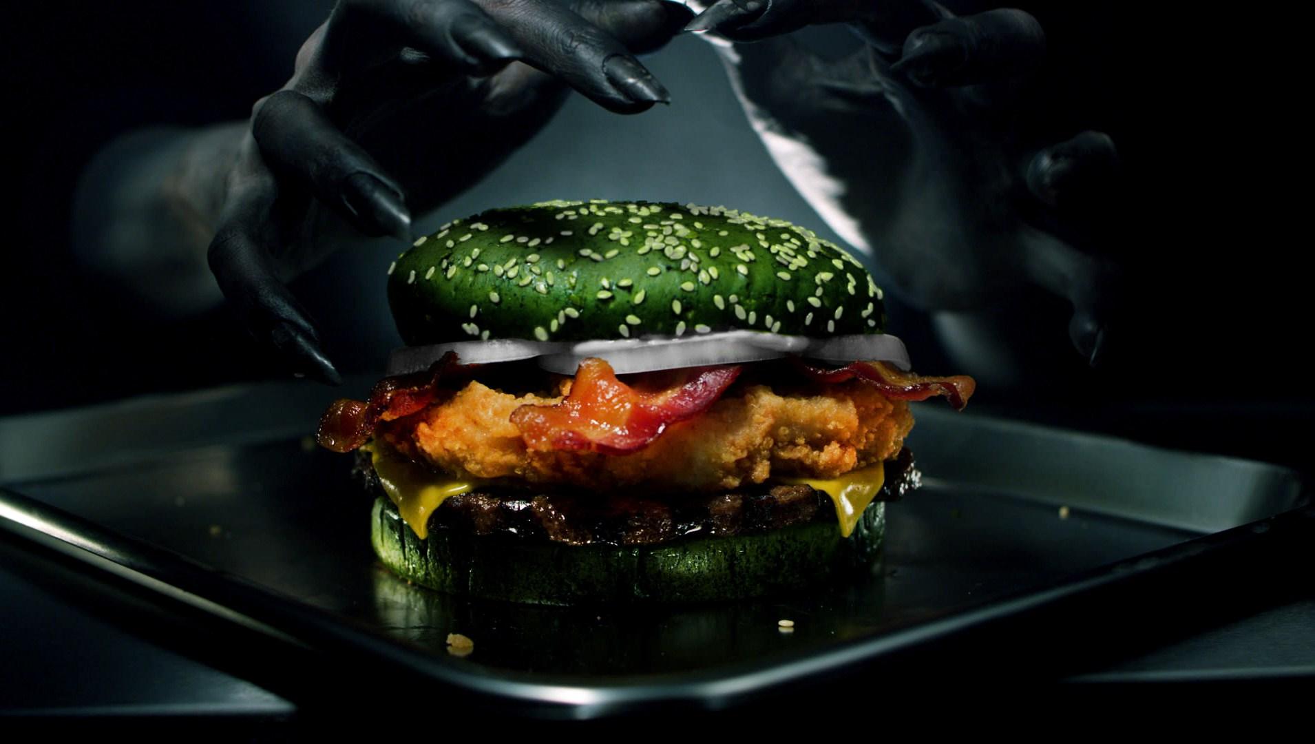 Burger King's Nightmare King Burger Has a Green Bun and Social Media Is Divided