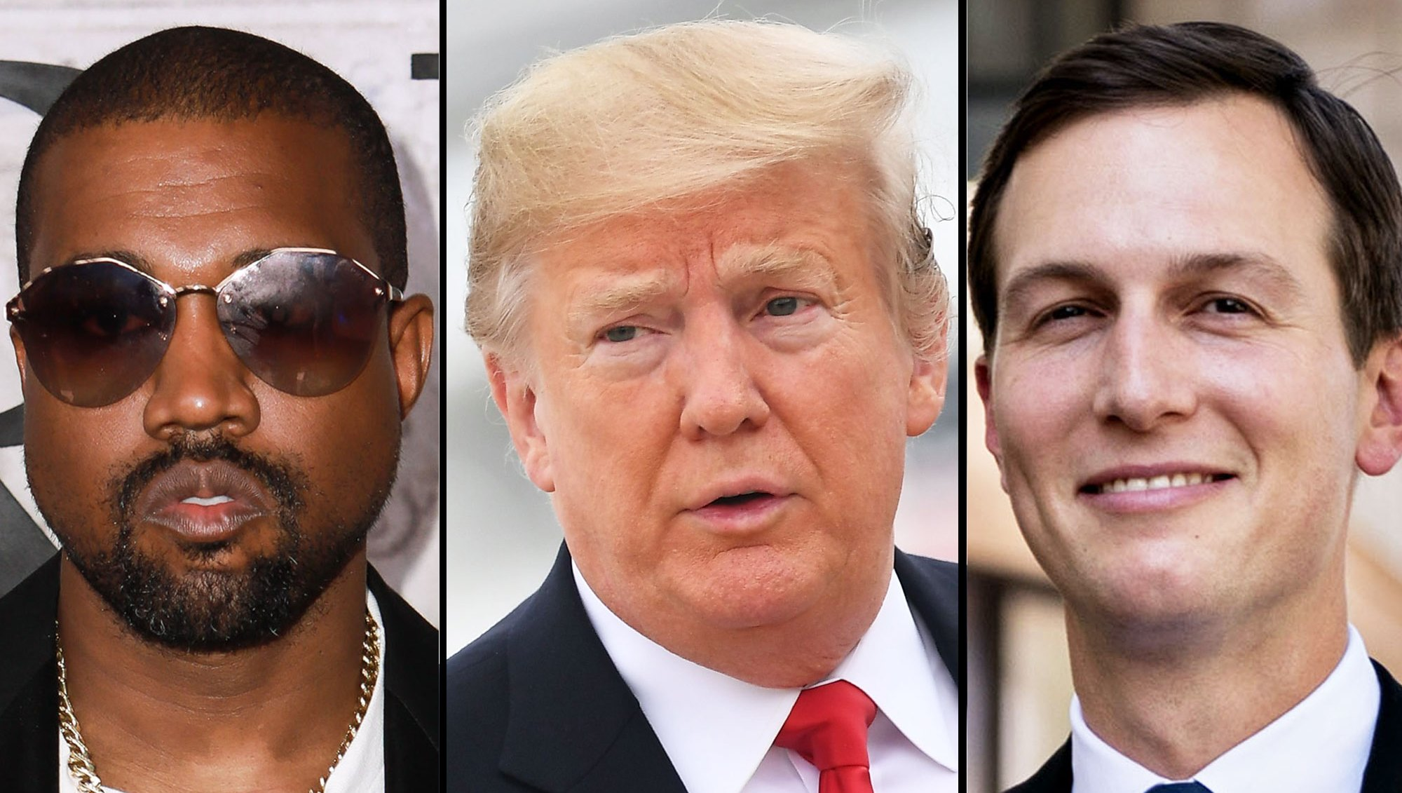 Kanye West, President Donald Trump and Jared Kushner