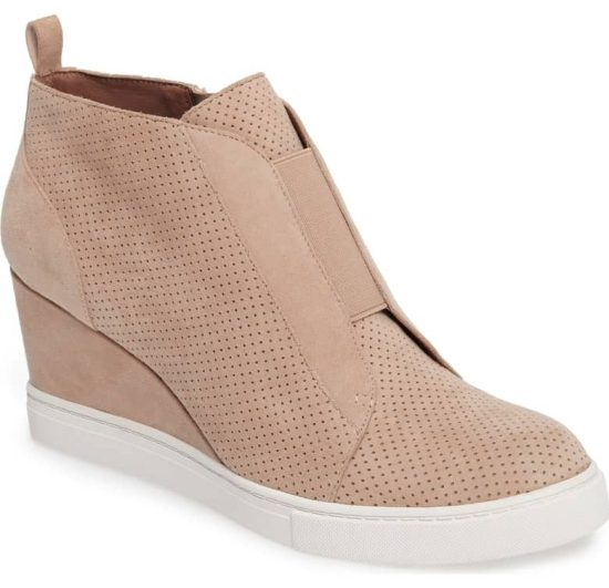 light pink suede wedge bootie