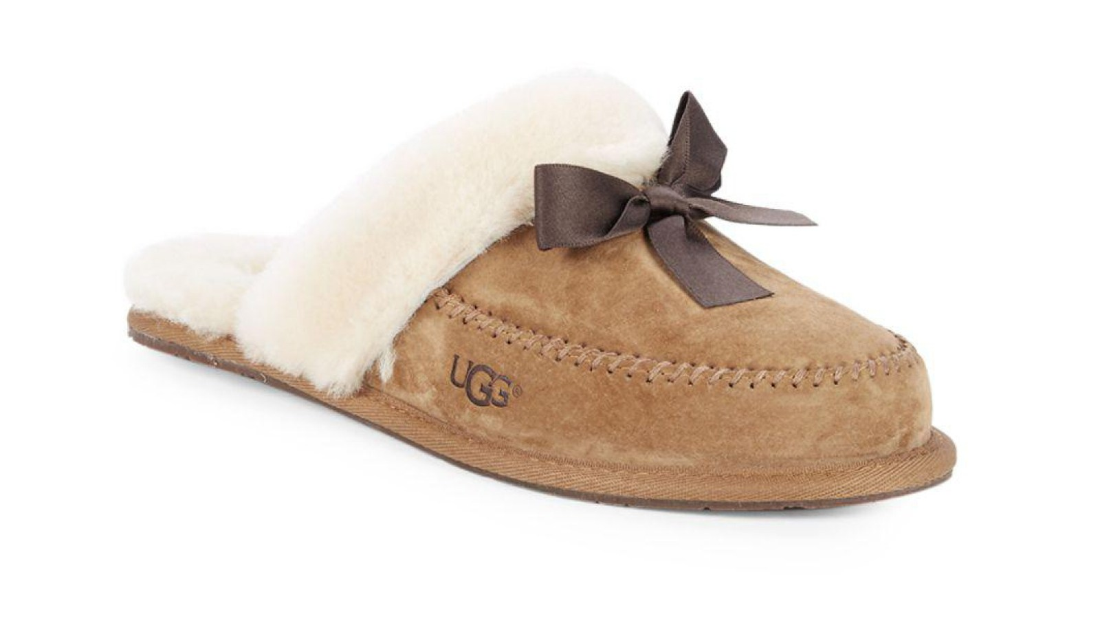 7a657e91ccd Shop Comfy Ugg Shearling Trim Bow Slippers on Sale