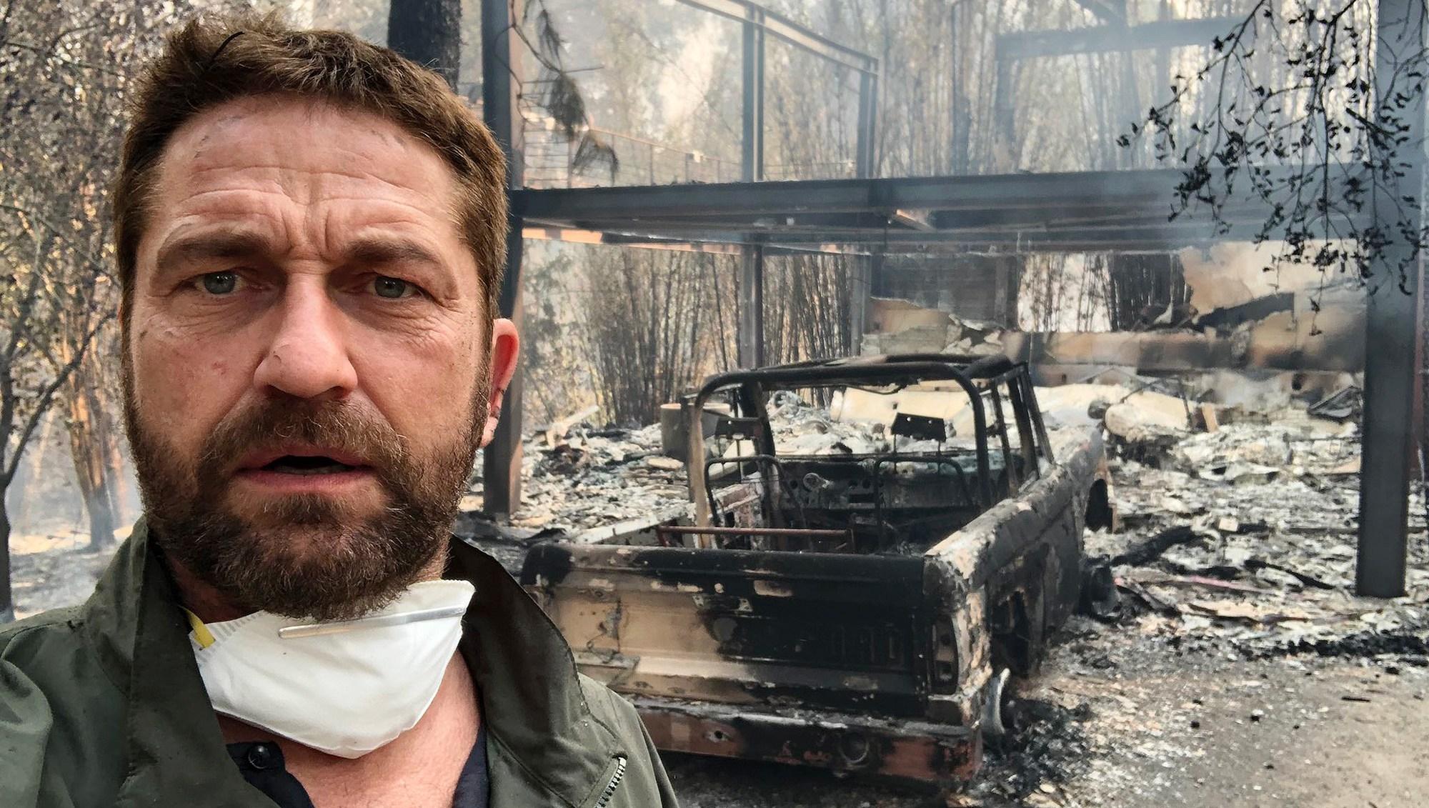 Gerard Butler, House, Fire, Malibu