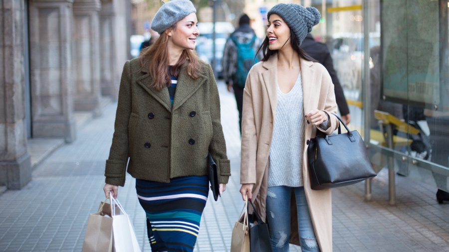 Friends go shopping in the city