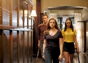 Matthew Davis as Alaric, Danielle Rose Russell as Hope, and Kaylee Bryant as Josie on Legacies