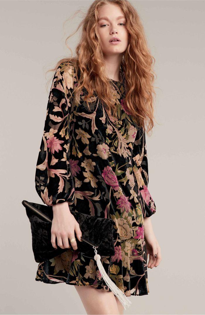 eliza j floral print shift dress velvet