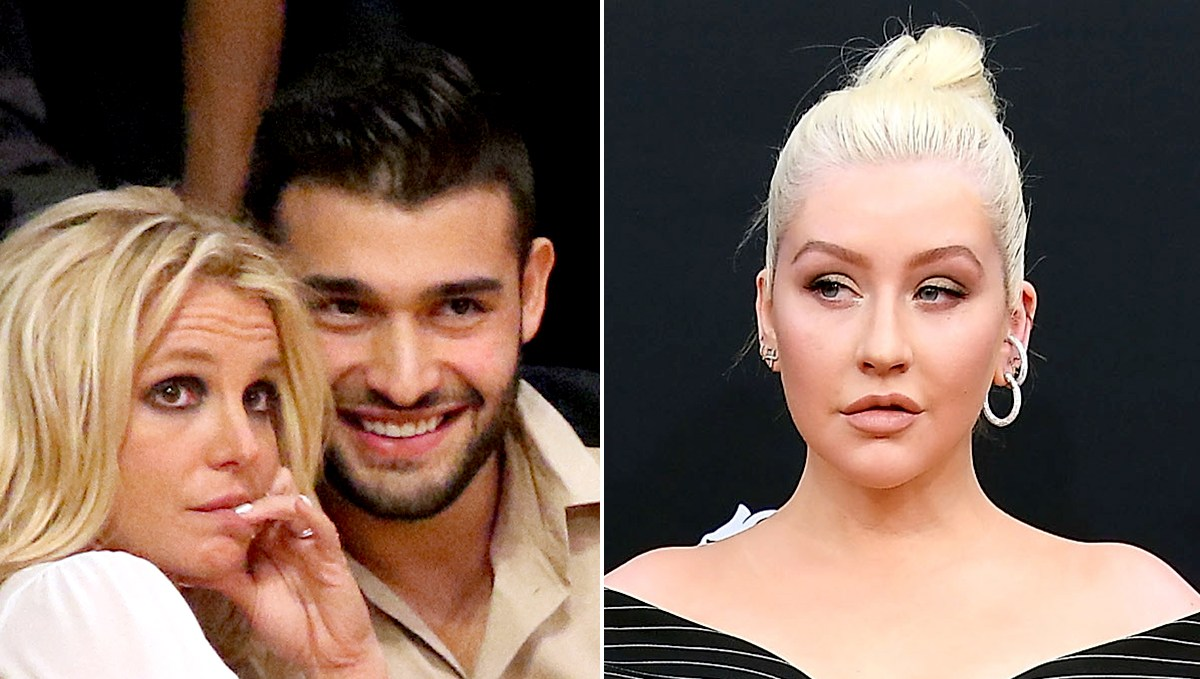 Britney Spears, Sam Asghari, and Christina Aguilera