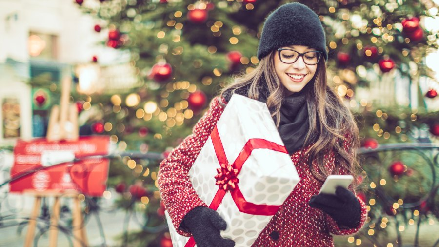 woman with wrapped present